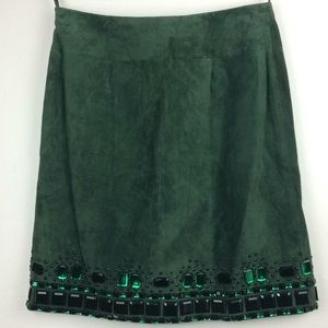 NWT Worth hunter green suede skirt with beaded hem